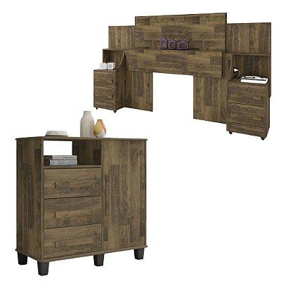 kit cabeceira de casal queen ou king com 2 mesas de cabeceira mais comoda 4 gavetas