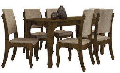 Jogo de Jantar com Mesa de Madeira 160x90 com 6 Cadeiras Almofadadas