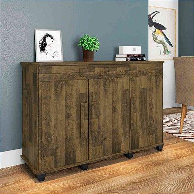Balcão buffet de madeira decorativo com 3 portas - RUBI