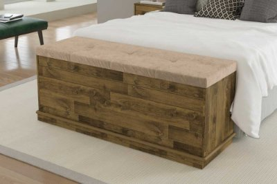 Baú de madeira para cama de casal com estofado - GENOVA