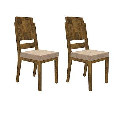 Kit 2 cadeiras para mesa de jantar de madeira com estofado - CADEIRA ESMERALDA