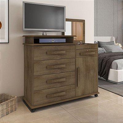 Cômoda de madeira com suporte para TV com 4 gavetas mais porta mais espelho