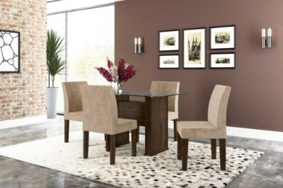 Conjunto de mesa de jantar 1,20 com 4 cadeiras e tampo de vidro