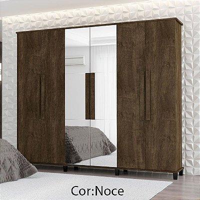 Guarda-Roupas Armário de madeira 6 portas com Espelho Grande