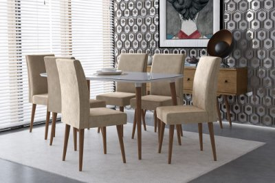 Kit Mesa com 6 Cadeiras para Sala de Jantar