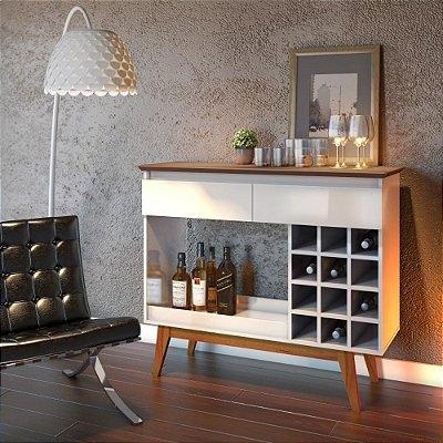 aparador para sala com adega para garrafas 113 cm