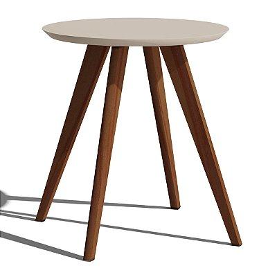 mesa de canto redonda com pé palito 60 cm