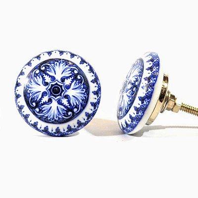 Puxador de Cerâmica para Gavetas Decorativo Azul 214284