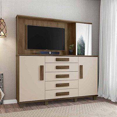Cômoda grande para quarto com painel embutido e espelho