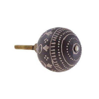 Puxador De Gaveta Decorativo Redondo Comprimento 4 cm Diâmetro 4 cm - 003086