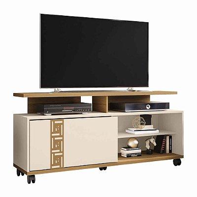 Rack Retro de TV para Sala largura 136 cm com Rodas e Porta