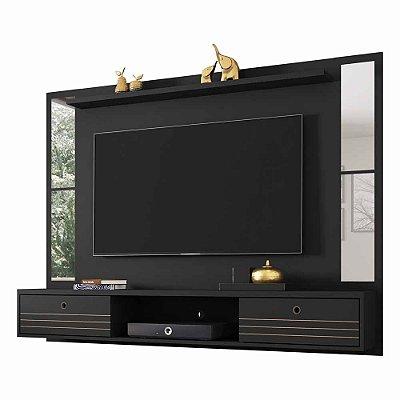 Painel para TV até 60 Polegadas Suspenso de Parede Largura 180 cm Com Espelhos