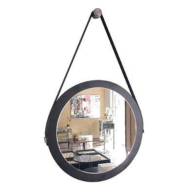 Espelho Adnet Decorativo Redondo de Parede com Alça de Couro Diâmetro 28 cm preto