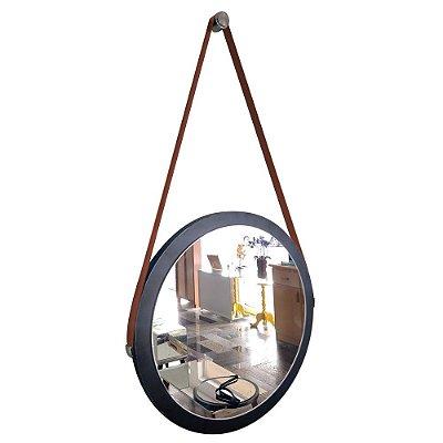 Espelho Adnet Decorativo Redondo de Parede com Alça de Couro Diâmetro 38 cm preto e marrom
