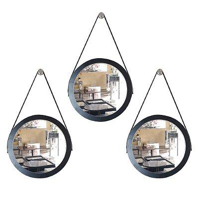 Kit 3 espelhos Adnet Decorativo Redondo de Parede com Alça de Couro Diâmetro 28 cm preto