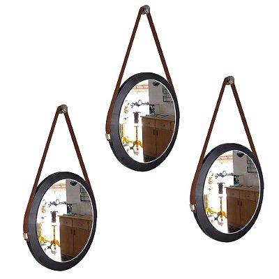 Kit 3 espelhos Adnet Decorativo Redondo de Parede com Alça de Couro Diâmetro 28 cm preto e marrom