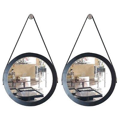 Kit 2 espelhos Adnet Decorativo Redondo de Parede com Alça de Couro Diâmetro 28 cm preto
