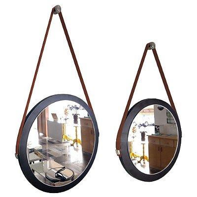 Kit 2 espelhos Adnet Decorativo Redondo de Parede com Alça de Couro Diâmetro 38 e 28 cm preto e marrom