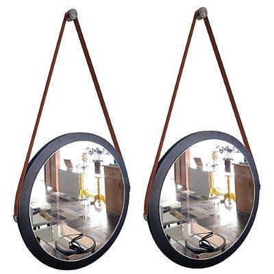 Kit 2 espelhos Adnet Decorativo Redondo de Parede com Alça de Couro Diâmetro 38 cm preto e marrom