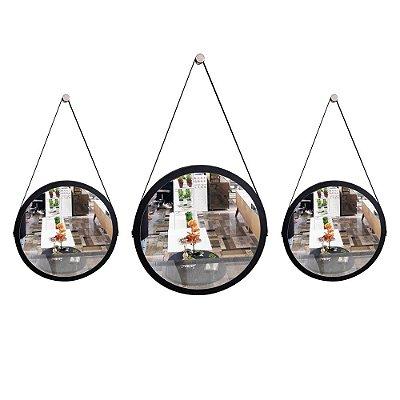 Kit 3 espelhos Adnet Decorativo Redondo de Parede com Alça de Couro Diâmetro 58 e 38 cm preto e marrom