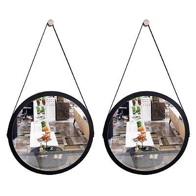 Kit 2 espelhos Adnet Decorativo Redondo de Parede com Alça de Couro Diâmetro 58 cm preto