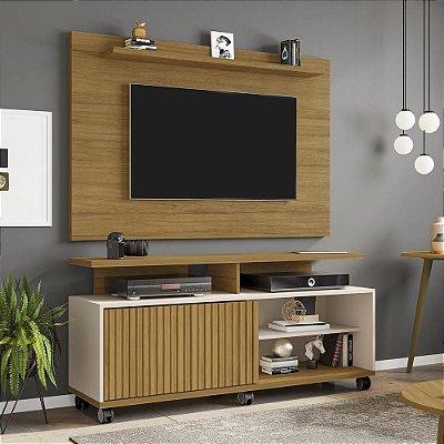 painel rack tv 50 polegadas para sala 5 prateleiras 136 cm profundidade 38 cm