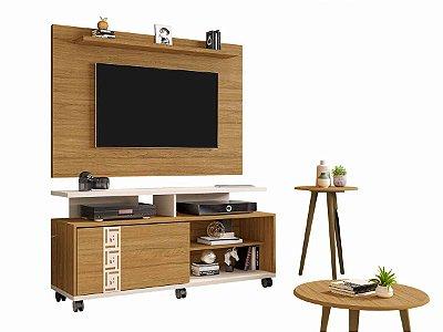 rack painel de tv 50 polegadas + 2 mesas largura 136 cm profundidade 38 cm