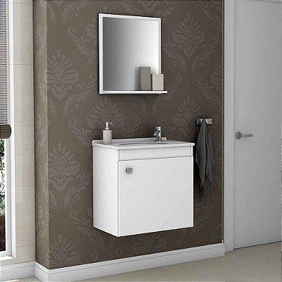 gabinete para banheiro com cuba com espelho suspenso com prateleira altura 45 cm