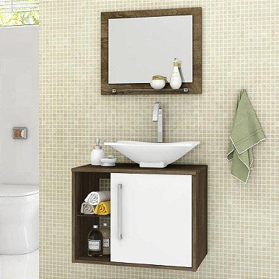 gabinete para banheiro com cuba com espelho suspenso com prateleira altura 46 cm