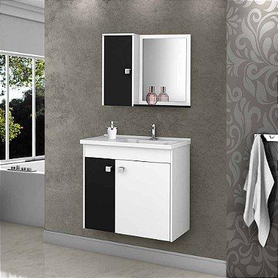 gabinete para banheiro com cuba com espelho suspenso 3 portas 56 cm altura 54 cm