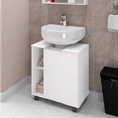 gabinete para banheiro 1 porta com rodízios largura 55 cm altura 62 cm profundidade 38 cm MDP