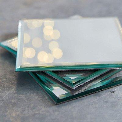 porta copos de mesa espelho atacado quadrado decorativo bisotado