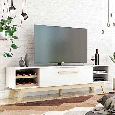 Rack De Tv Moderno Com Adega Largura 180 Cm Altura 51 Cm Pé Palito De Mdf