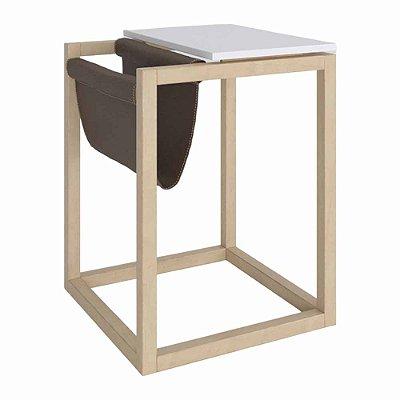 Mesa Lateral Moderna Com Revisteiro Altura 61 Cm Largura 45 Cm De Mdf