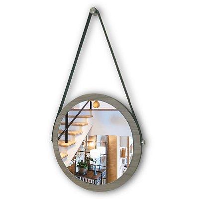 Espelho Adnet 38 cm Várias Cores com Alça de Couro e Espelho de Vidro