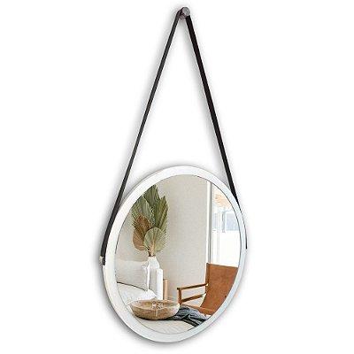 Espelho Adnet 48 cm Várias Cores com Alça de Couro e Espelho de Vidro