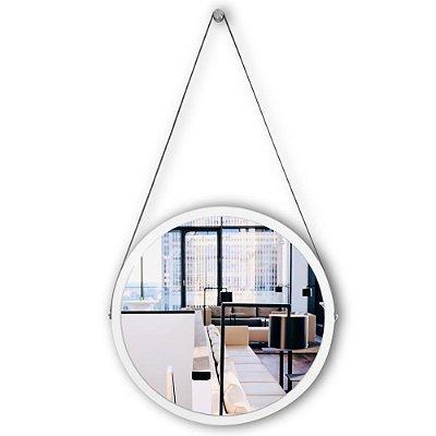 Espelho Adnet 58 cm Várias Cores com Alça de Couro e Espelho de Vidro