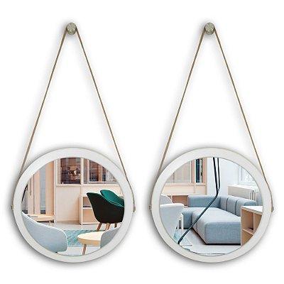 Kit Espelho Adnet 38 & 38 cm Várias Cores com Alça de Couro e Espelho de Vidro