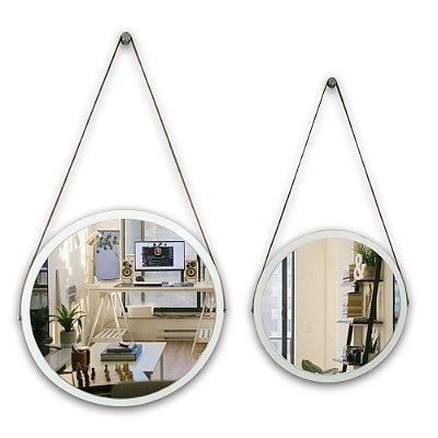 Kit Espelho Adnet 58 & 48 cm Várias Cores com Alça de Couro e Espelho de Vidro