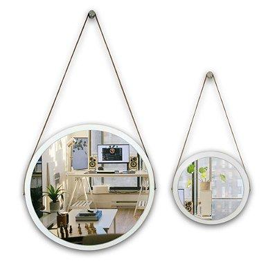 Kit Espelho Adnet 58 & 38 cm Várias Cores com Alça de Couro e Espelho de Vidro