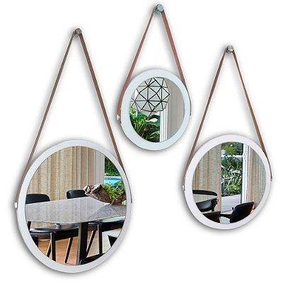 Kit Espelho Adnet 48 & 38 & 28 cm Várias Cores com Alça de Couro e Espelho de Vidro