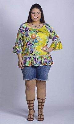 Blusa com Estampa Tropical e Babados - BL00004