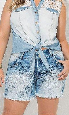 Shorts Jeans com Emboss em Arabescos - 17469