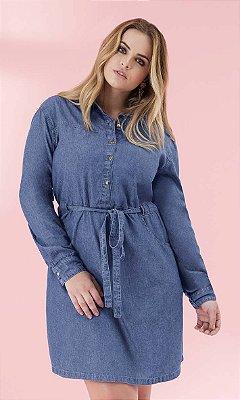 Vestido Jeans Manga Longa   64349