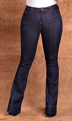 Calça Jeans Flare com Detalhes Ponto Picado  17636