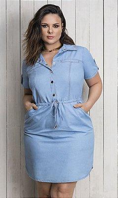 Vestido Jeans com Amarração na Cintura   5668