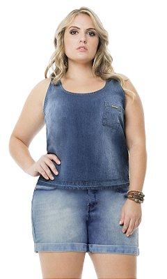 Blusa Jeans com Bolso   40157