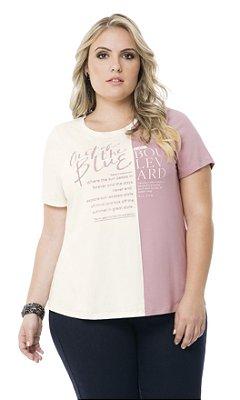 Blusa com Recorte e Estampa Silk   40731