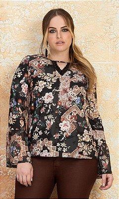 Blusa Estampada com Detalhe em Tule   20470