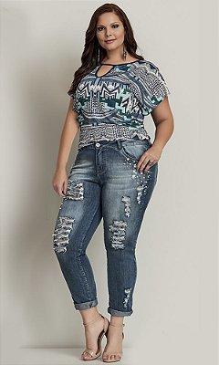 Calça Jeans com Puídos e Perolas - 824164